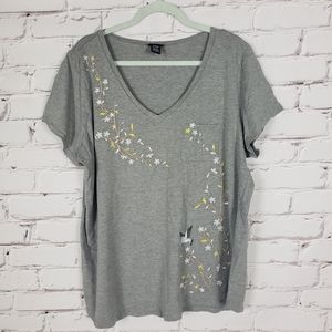 Torrid Gray T-shirt with Floral Embroidery